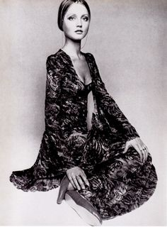 Ingrid Boulting modelling Biba couture, Vogue (December 1969). Photo: Barry Lategan.