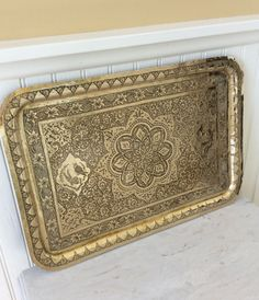 Vintage Lrg. Ornate Heavy, Solid Brass, Hand Tooled Tray, Ornamental Tray, Wall Decor, Flowers & Birds, Hollywood Regency, Bohemian, Glam by YellowHouseDecor on Etsy https://www.etsy.com/listing/275054804/vintage-lrg-ornate-heavy-solid-brass