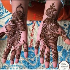Here are some simple mehendi designs which will intimidate you to try it for yourself without the need for any special occasion. Henna Hand Designs, Mehndi Designs Finger, Floral Henna Designs, Latest Arabic Mehndi Designs, Mehndi Designs For Girls, Mehndi Designs 2018, Stylish Mehndi Designs, Wedding Mehndi Designs, Dulhan Mehndi Designs