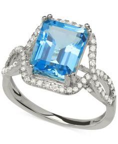 Blue Topaz (4 ct. t.w.) and Diamond (1/3 ct. t.w.) Ring in 14k White Gold