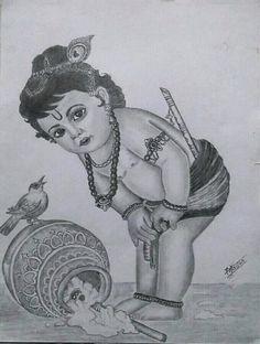 Pencil sketch of Lord krishna Lord Krishna Sketch, Krishna Drawing, Krishna Art, Pencil Drawings Tumblr, Girly Drawings, Art Drawings Sketches Simple, Tears Art, Buddha Artwork, Banarasi Lehenga