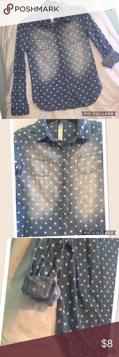 Cherokee polka dot denim shirt, size M. Cherokee denim shirt with white polka dots all over.  Front of shirt has a worn denim look to it.  Cute with sleeves rolled up or left long.  Like new condition.  Size M 7/8. Cherokee Shirts & Tops Button Down Shirts