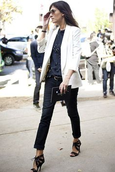 white blazer and black pants. love -- White blazer is on my spring wardrobe checklist.