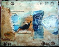 ENCAUSTIC; fabric, paint, paper & metal stamps ;)