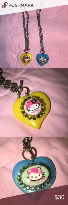 """Rare Tarina Tarantino hello kitty heart necklaces Bought these in 2007. They are used and have some slight tarnish but definitely still wearable and don't look 10 years old. Chain length on both is 16.5"""" Tarina Tarantino Jewelry Necklaces"""