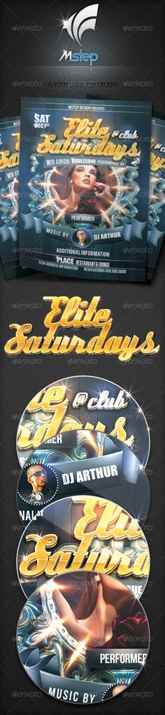 """Elite Saturdays Flyer  #GraphicRiver          Model used not included  IF YOU REQUIRE OTHER SIZES , please let me know  This flyer template is a wonderful promotional tool for promoters, owners, and DJ's alike. Its unique design is both elegant and wild enough for all of your festivities.  Print Ready!! The following PSD file is setup at 1275px X 1875px (4.25""""X6.25"""" with 0.15 trim)@ 300DPI CMYK .   I have taken the liberty of organizing all the layers into very manageable folders and…"""