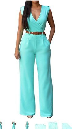 Fashion Summer Women Jumpsuit With Belt Sexy V Neck Solid Color Sleeveless High Waist Wide Leg Romper Ladies Jumpsuits H Chiffon Pants, Rompers Women, Jumpsuits For Women, Pants For Women, Clothes For Women, Overall, Colorful Fashion, Wide Leg Pants, Dressy Outfits
