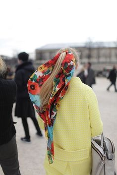 yellow coat + scarf / Honestly WTF