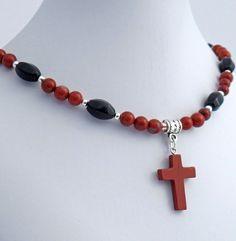Red Jasper Onyx Natural Stone Cross Pendant Necklace