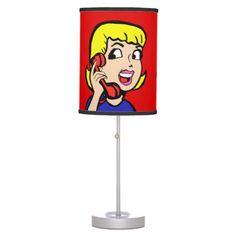 Telephone Girl Comic Strip Table Lamp--#lamps #decor #tween #teen #retro #comics #cartoon #popart #Zazzle