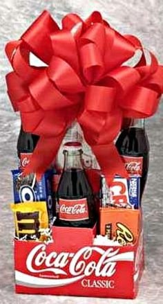Replace coke with Sprite etc .Great gift idea for a teenager - package up two movie tickets with the snacks Valentine Gifts For Boys, Valentine Gift Baskets, Valentine's Day Gift Baskets, Raffle Baskets, Gifts For Teens, Boys Easter Basket, Easter Baskets, Holiday Fun, Holiday Crafts