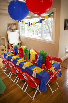 awesome lego party ideas table setting