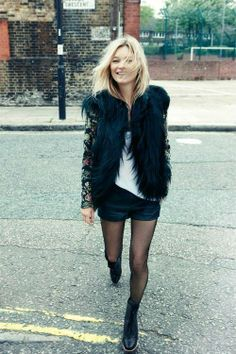 kate moss + furry waistcoat