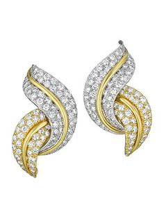 A Pair of Diamond and Gold Earclips, DAVID WEBB