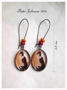 Superbe Boucle d'oreilles , avec cabochon en verre 18x24 mm couleur bronze : Boucles d'oreille par fabienne-botte