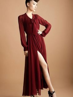 2013 Fashion Side Open Pure Color Long Sleeve Maxi Dress
