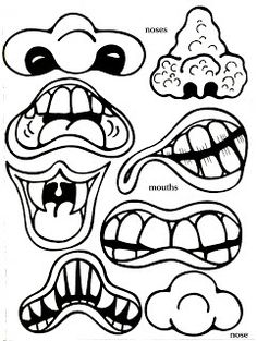 Monster Maker Color and Cut Outs – Janelle Bergman – art therapy activities Halloween Doodle, Halloween Projects, Coloring For Kids, Coloring Pages, Face Cut Out, Art Therapy Activities, Reading Activities, Daycare Crafts, Kid Crafts
