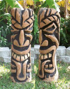 living room tiki   Tiki-Living.com Tiki Totem Statues Hand Carved Wooden Poles - tiki ...