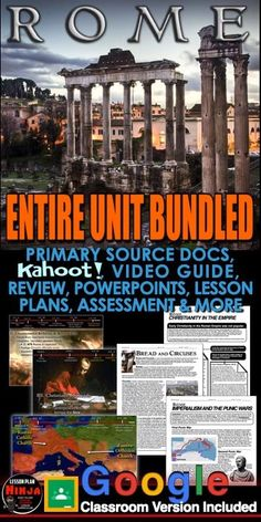 Ancient Rome Unit includes Ancient Rome PowerPoints with video clips and presenter notes. Unit also includes, warm up PowerPoints, informational text documents with questions, primary source lessons, maps, exit tickets, crossword review, a project, video/video guide, Kahoot! review game, and editable assessment. Everything is put together with detailed daily lesson plans. #PsychologyLessonPlans #DistanceLearning #GoogleClassroom #WorldHistoryLessonPlans #LessonPlans #HistoryLessonPlans History Lesson Plans, World History Lessons, Us History, American History, Video Game, Rome Map, Ancient World History, Punic Wars, Daily Lesson Plan