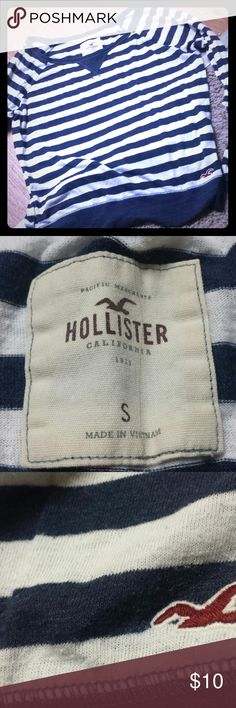 Striped Shirt This shirt is navy and white striped. It has some pilling which can be seen in the last picture. The shirt is super comfy and still has a lot of life left in it Hollister Tops