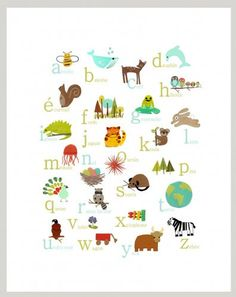 $28.  Cute French alphabet poster.  Also available in other languages