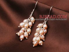 3 Pcs Fashion Style Cluster Shape Natural White Pink And Black Pearl Dangle Earrings - Bjbead.com