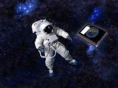 Astronaut floating in dark space. Science Fiction, Vintage Space, Space Travel, Astronaut, Travel Posters, Royalty Free Stock Photos, Fantasy, Dark, Illustration