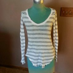 """Free People Thermal Black and White striped cotton thermal scoop neck line and has a raw edge hemline 26""""long Free People Tops"""