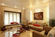 Pune Classic - Living Room Designs by Der Entwurf Interior Simple, Indian Home Interior, Indian Home Decor, Indian Interiors, Indian Room, Apartment Interior Design, Home Decor Bedroom, Interior Design Living Room, Living Room Designs