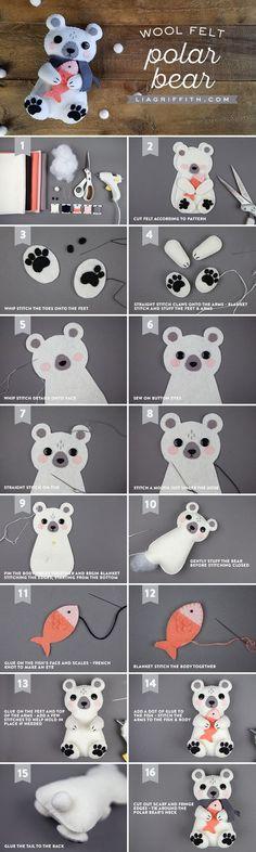 DIY Felt Polar Bear Stuffie - Lia Griffith - www.liagriffith.com #felt #feltcute #feltcraft #diyinspiration #diyidea #diyideas #diytoy #diytoys #madewithlia