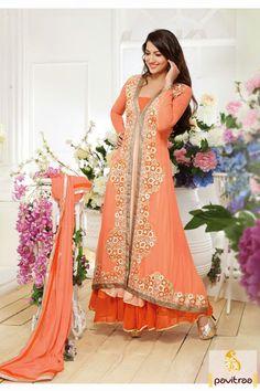 Orange Floor Length Anarkali Salwar Kameez