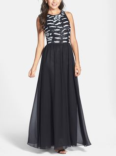 Hailey Adrianna Papell | Hailey by Adrianna Papell Sequin Bodice Chiffon Gown | Nordstrom Rack