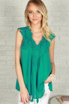 Royal Brunch Shift Crochet Tank in Jade