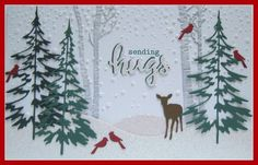 Sending Hugs: Tim Holtz Woodlands tree dies, Simon's Falling Snow stencil and modeling paste