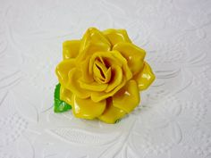Yellow Rose Brooch/1960's Costume Jewelry/Flower by STLvintage