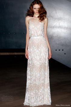 Sophia by Mira Zwillinger. Gorgeous white details, atop a sheer nude coloring!!!! This gown is so simple and feminine.