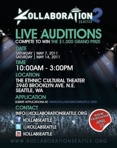 Kollaboration Seattle is back again looking for the best talents around. Auditions on May 7th and 14th!