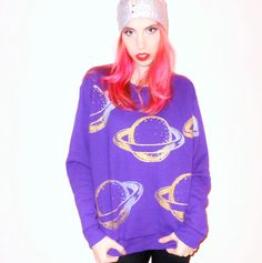 Metallic Gold and Silver SATURN PRINT Purple Sweatshirt - Available in sizes Small, medium, Large, XL- Made To Order