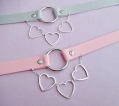 Pastel goth heart choker - o ring choker - collar necklace - pastel grunge…