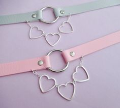 Pastel goth heart choker - o ring choker - collar necklace - pastel grunge…