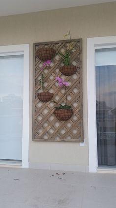 Jardim vertical com orquidias