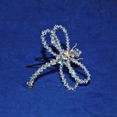 Headpiece Hairpin Petite Swarovski Crystal by DamselflyStudio Dragonfly Wall Art, Dragonfly Pendant, Dragonfly Wedding, Beaded Flowers Patterns, Beaded Jewelry, Handmade Jewelry, Beaded Spiders, Bridal Hair Pins, Bead Art