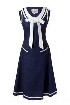 20s Fedora Nautical Linen navy A line dress