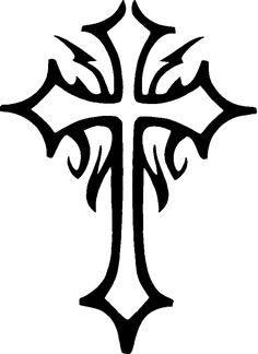 tribal cross tattoos | tattoo cross. Glitter Tattoo Stencil Cross