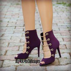 Purple Suede Dore Chain Open Toe Heels Shoes Dory Purple Bootie to Fancy Shoes, Hot Shoes, Shoes Heels, Shoes Sneakers, Lila Heels, Lace Up Heels, Purple Heels, Purple Suede, Purple Sandals