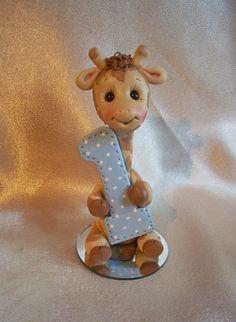 polymer clay giraffe 1st first birthday cake topper by
