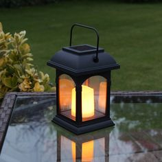 This solar powered candle lantern flickers like a real flame and has a handy handle allowing you to hang it up either inside or out. This is a brilliant item for any garden lover or just as nice feature. Why not get a few and light up a path with hanging lanterns.