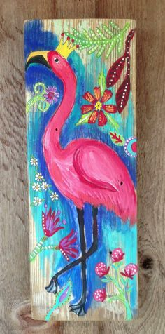Original acrylic painting on a 6 x 151/2 inch piece of wood. Sealed ready to hang. It would look great outdoors.