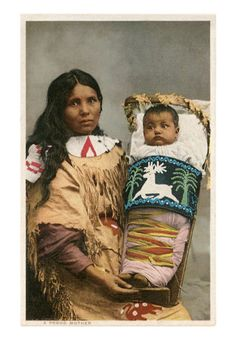 beautiful native american prints | Menominee Indian Woman with Papoose Art Print