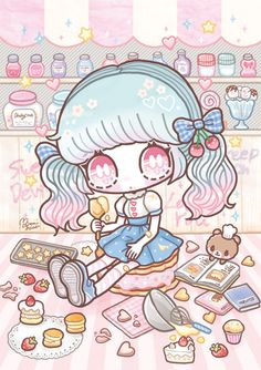 ShimaMinami on Tokyo Otaku Mode Cute Anime Chibi, Manga Cute, Kawaii Chibi, Kawaii Anime Girl, Art Kawaii, Kawaii Stuff, Nostalgia Art, Kawaii Background, Drawing Activities